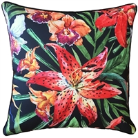 Tigerlily Black Outdoor Cushion