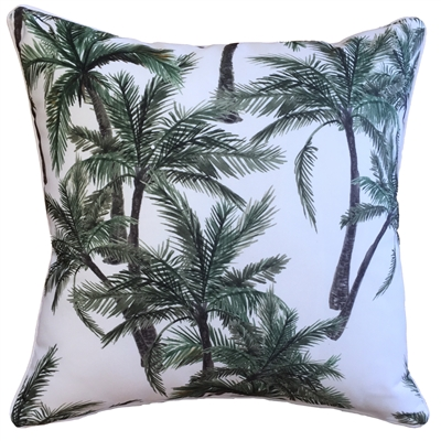Vintage Palm White Outdoor Cushion