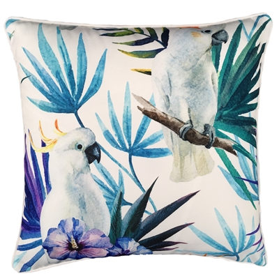 White Cockatoo Bird Outdoor Cushion