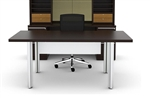 Verde Modern Table Desk with White Modesty Panel by Cherryman