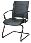Europa Black Leather Guest Chair LE333TNM with Titanium Finished Frame by Eurotech