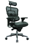 Ergohuman Black Leather and Mesh Office Chair LEM4ERG by Eurotech