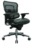 Black Leather Ergohuman Chair LEM6ERGLO with Mesh Back by Eurotech