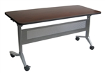 "Mayline LF2460 - 60"" x 24"" Flip-N-Go Training Room Table with Silver Base"