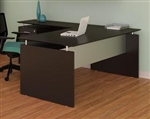 Mocha Finished Straight Front Medina Desk with Return and Pedestal by Mayline