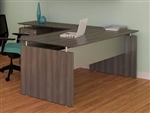 Gray Steel Finished Straight Front Medina Desk with Return and Pedestal by Mayline