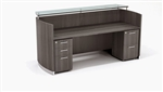 Mayline Medina Gray Steel Finished Reception Desk with Storage Pedestals