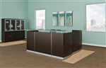 Medina Mocha Finished L Shaped Reception Desk with Glass Transaction Counter by Mayline