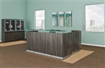 Medina Gray Steel L Shaped Reception Desk by Mayline
