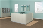 Medina Textured Sea Salt Finished L Shaped Reception Desk by Mayline