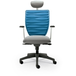 MooreCo Renew Modern Gray Office Chair with Deep Blue Back and Headrest