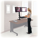 MooreCo 91114 Up-Rite Dual Sit To Stand Monitor Mount with Keyboard Platform