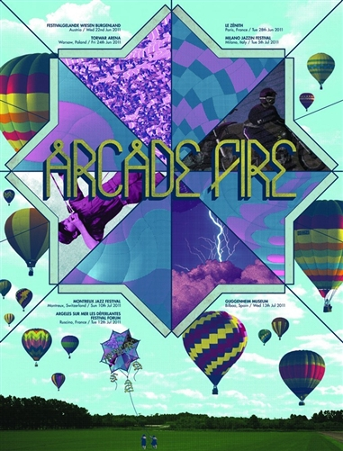 Arcade Fire 2011 European Tour Poster by Mike Davis (Burlesque of North America/Burlesque Design)