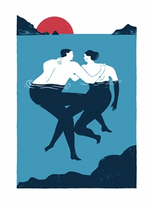 Couple Bathing Art Print by Iker Ayestaran