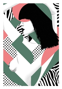 Cute Cut 3 Green Art Print by Jean Leblanc