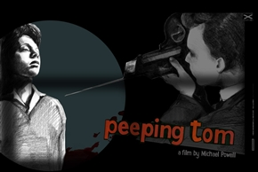 Peeping Tom Poster by Swava Harasymowicz Small Blue