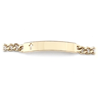 Gold Ladies' ID Bracelet with Cut Out Cross Plaque