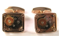 ROSEGOLD RECTANGLE GEAR CUFF LINK
