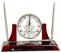 Executive Rosewood Clock w/ 2 pens and letter opener
