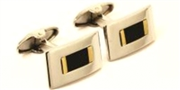 18KT BRUSHED INSERT CUFF LINKS