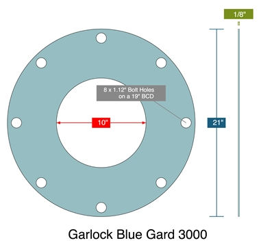 "Garlock 3000 Full Face - 10"" ID x 21"" OD x 1/8"" Thick (8) 1.12"" Holes On 19"" BC"
