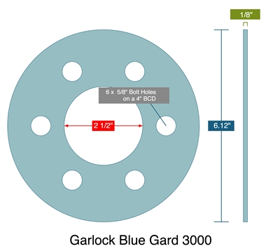 "Garlock 3000 Full Face Gasket - 2.5"" ID x 6.12"" OD x 1/8"" Thick (6) 5/8"" holes On 4"" BC"