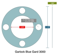 "Garlock 3000 Full Face - 3.06"" ID x 5.5"" OD x 1/64"" Thick (4) 13/16"" Holes on 4.375"" BC"