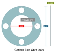"Garlock 3000 Full Face - 3.06"" ID x 5.5"" OD x 1/32"" Thick (4) 13/16"" Holes on 4.375"" BC"