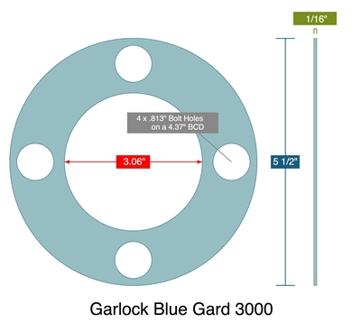 "Garlock 3000 Full Face - 3.06"" ID x 5.5"" OD x 1/16"" Thick (4) 13/16"" Holes on 4.375"" BC"