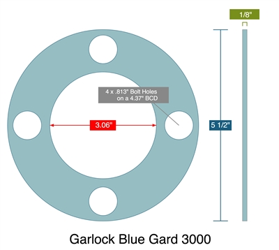 "Garlock 3000 Full Face - 3.06"" ID x 5.5"" OD x 1/8"" Thick (4) 13/16"" Holes on 4.375"" BC"
