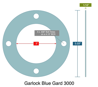 "Garlock 3000 Full Face - 1/16"" Thick - 3"" ID x 5.03"" OD (4) 13/32"" Holes On 4.15"" BC"