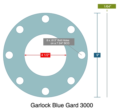 "Garlock 3000 Full Face - 4.5"" ID x 9"" OD x 1/64"" Thick (8) 13/16"" Holes on 7.75"" BC"