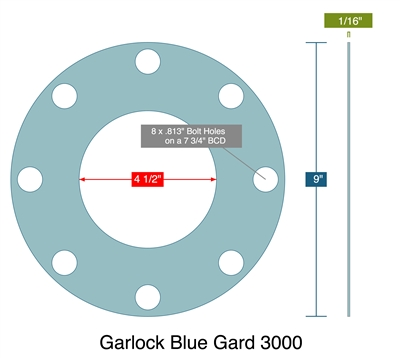 "Garlock 3000 Full Face - 4.5"" ID x 9"" OD x 1/16"" Thick (8) 13/16"" Holes on 7.75"" BC"