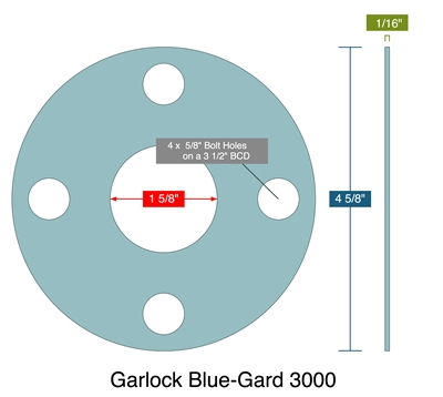 "Garlock 3000 NBR Full Face Gasket - 150 Lb. - 1/16"" Thick - 1-1/4"" Pipe"