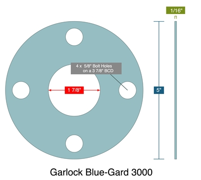 "Garlock 3000 NBR Full Face Gasket - 150 Lb. - 1/16"" Thick - 1-1/2"" Pipe"