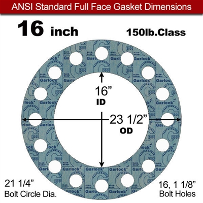 "Garlock 3000 NBR Full Face Gasket - 150 Lb. - 1/16"" Thick - 16"" Pipe"