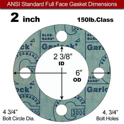 "Garlock 3000 NBR Full Face Gasket - 150 Lb. - 1/16"" Thick - 2"" Pipe"
