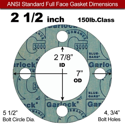 "Garlock 3000 NBR Full Face Gasket - 150 Lb. - 1/16"" Thick - 2-1/2"" Pipe"