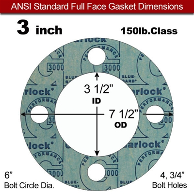 "Garlock 3000 NBR Full Face Gasket - 150 Lb. - 1/16"" Thick - 3"" Pipe"