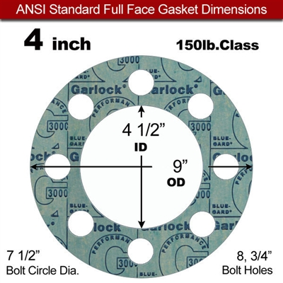 "Garlock 3000 NBR Full Face Gasket - 150 Lb. - 1/16"" Thick - 4"" Pipe"