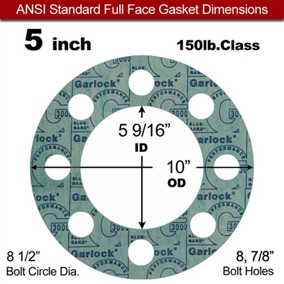 "Garlock 3000 NBR Full Face Gasket - 150 Lb. - 1/16"" Thick - 5"" Pipe"