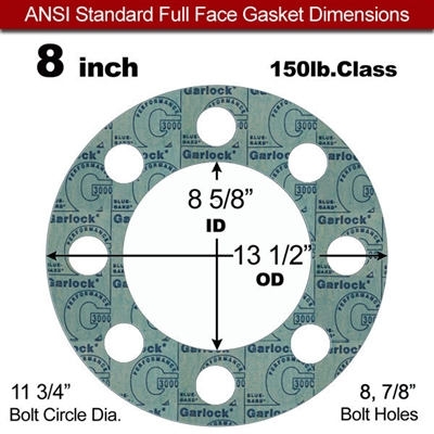 "Garlock 3000 NBR Full Face Gasket - 150 Lb. - 1/16"" Thick - 8"" Pipe"