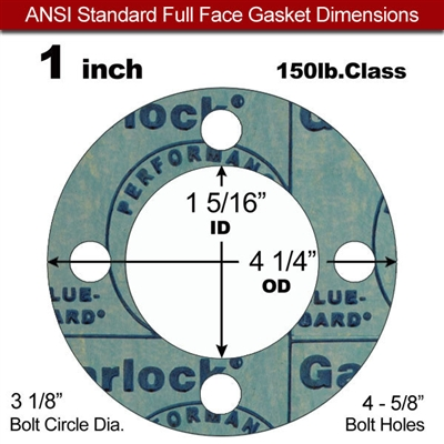 "Garlock 3000 NBR Full Face Gasket - 150 Lb. - 1/8"" Thick - 1"" Pipe"