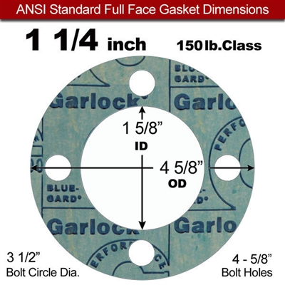 "Garlock 3000 NBR Full Face Gasket - 150 Lb. - 1/8"" Thick - 1-1/4"" Pipe"