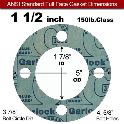 "Garlock 3000 NBR Full Face Gasket - 150 Lb. - 1/8"" Thick - 1-1/2"" Pipe"