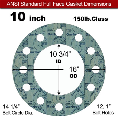 "Garlock 3000 NBR Full Face Gasket - 150 Lb. - 1/8"" Thick - 10"" Pipe"