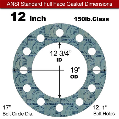 "Garlock 3000 NBR Full Face Gasket - 150 Lb. - 1/8"" Thick - 12"" Pipe"