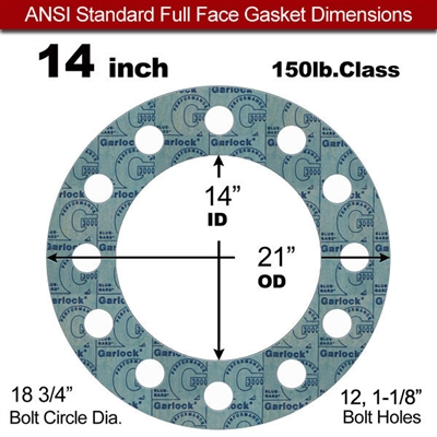 "Garlock 3000 NBR Full Face Gasket - 150 Lb. - 1/8"" Thick - 14"" Pipe"