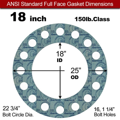 "Garlock 3000 NBR Full Face Gasket - 150 Lb. - 1/8"" Thick - 18"" Pipe"