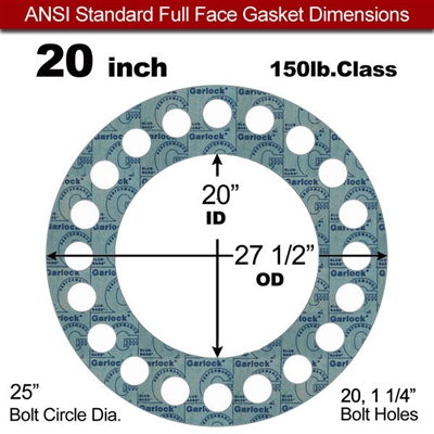 "Garlock 3000 NBR Full Face Gasket - 150 Lb. - 1/8"" Thick - 20"" Pipe"